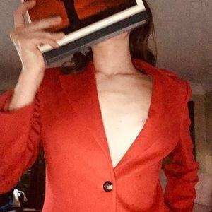 Red 100% cashmere Barney's NY blazer.